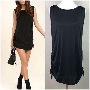Lulus Small Hey Girl Black Ruched Mini Dress